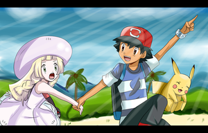 pokemon sun and moon ash and lillie by hikariangelove