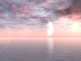 Pink and Blue Sea and Sky by PublicDomainStock