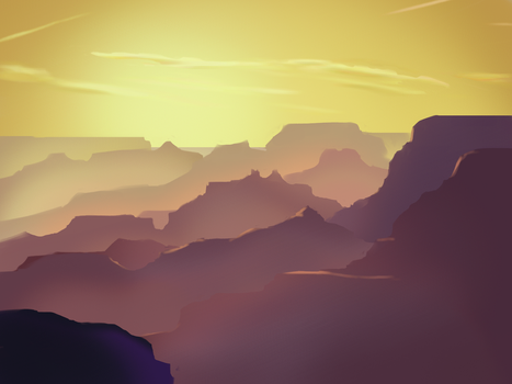Sun and Mountains Study by Mesmer12345