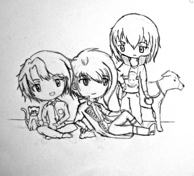 MCL : Nathaniel, Castiel and Lysander -Uncolored- by Azn-Expo-Marker