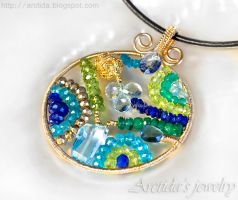 Mosaics necklace blue green gemstones by Arctida