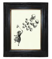Girl catching Skull Balloons Anatomy by curiousprintery