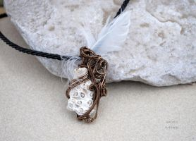 Shell with feather wire wrapped steampunk pendant by IanirasArtifacts