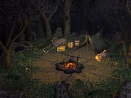 Camp in Haunted Woods by Poopgoblyn