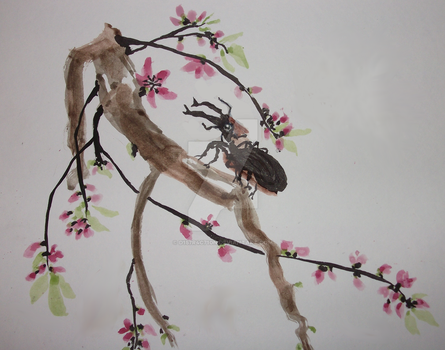Stag Beetle with Cherry Blossoms by D157r4c710n