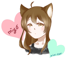{Commission} .:Miyo:. (Headshot) by pyonworks