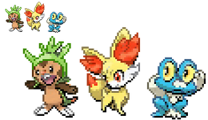 6th Gen. Starter Sprites by TacoParty125