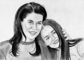 Lorelai and Rory (Graphite Drawing) by julesrizz
