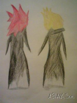 Namine's drawing of Axel and Roxas by ABlackSun