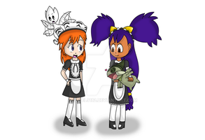 Misty and Iris as Ash's maids by Starfighter364