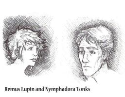 Remus and Tonks Pen Hatchings by TeddysTwin