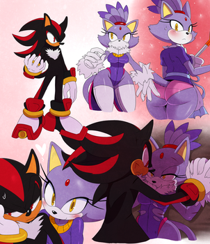 Shadow and Blaze Doodles by ss2sonic