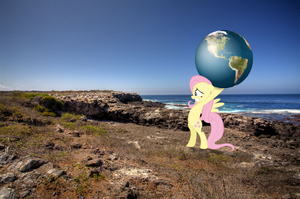 Fluttershy carrying the world on her hooves...