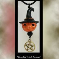 Polymer Clay Pumpkin Witch Pendant by KabiDesigns