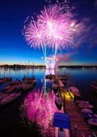 Pink Fireworks in Red Bank by Mjag