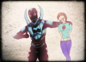 Blue Beetle and SilverlightGhost by Byrdman-08