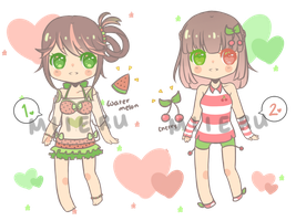 Red/Pink/Green Adoptables [CLOSED] by mieille