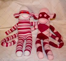 pretty in pink sock monkey duo by Mab-overthrown