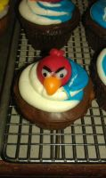Red Angry Bird Cupcakes by katiesparrow1