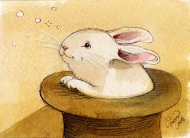 Bunny Mini Watercolor painting by BlueBirdie