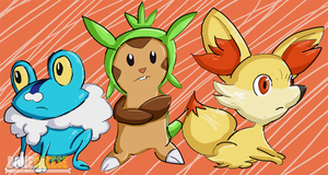 New Pokemon Starters (Froakie, Chespin, Fennekin) by BoneCheese