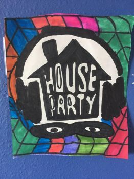 House Party Art Colorful Design Drawing  by NWeezyBlueStars23