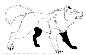 attacking wolf lineart by Deceptiicon