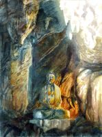Buddha in a cave by flutear