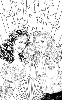 Wonder Woman 77 Meets The Bionic Woman cover by judittondora