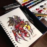 Tattoo design Crab and Moon  by Xenija88