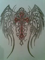 tribal wings cross by boh-slayer666