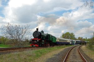 109.109 Steam engine w. nostalgic train near Gyor by morpheus880223