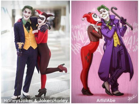 Harleys Joker and Jokers Harley Cosplay by ArtistAbe