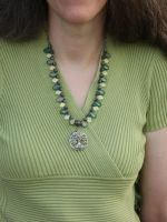 Bird in Tree Necklace on Green 1 by Windthin