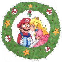 Mario Christmas- Mario n Peach by mandy-kun