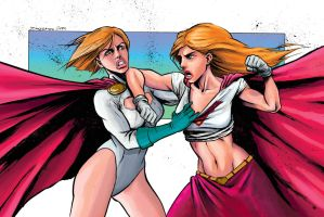 Supergirl vs Power Girl by JZINGERMAN