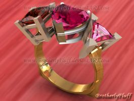 3D Rose three stone ring by BrotherlyFluff