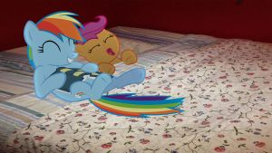 Rainbow Dash Reading Scootaloo To Sleep by Macgrubor