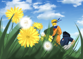 Naruto and Sasuke: blue sky by Feiuccia