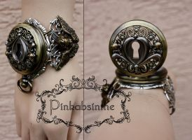 Key hole steampunk watch cuff II by Pinkabsinthe