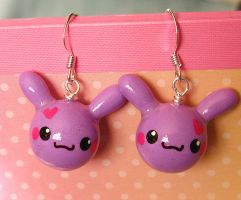 OC purple bunnie earrings by xlilbabydragonx
