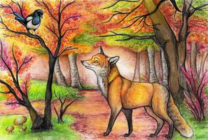 Fox and Magpie by Bluepisces97