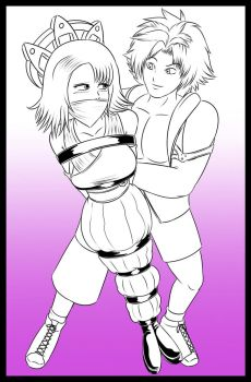 Stream Lineart - Yuna and Tidus Playing by Humite-Ubie
