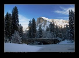 Half Dome, bridge view, Winter by jdmimages