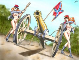 Confederate Cannoneers by AndysDames