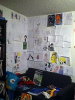 My epic wall of my epic drawings by hanachiba