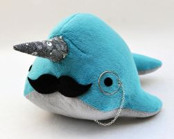 Stuffed narwhal with monocle and mustache by TheOstrichFarm