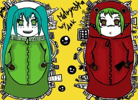 Matryoshka: Miku and Gumi by AmiKaSwallow
