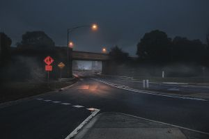 Rail-bridge, fog, Ballarat by lawrencew