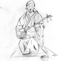 Blind Shamisen Player by Saelian